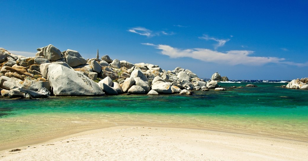beautiful white sands, turquoise waters and boulders of the Lavezzi Islands, Corisca