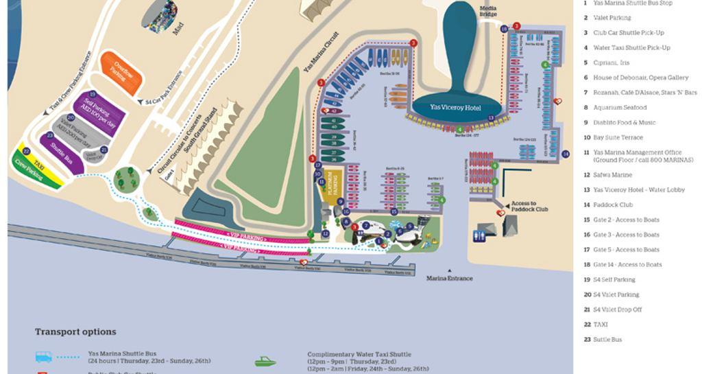 map of Yas Marina and Yas Marina Circuit for the Abu Dhabi Grand Prix