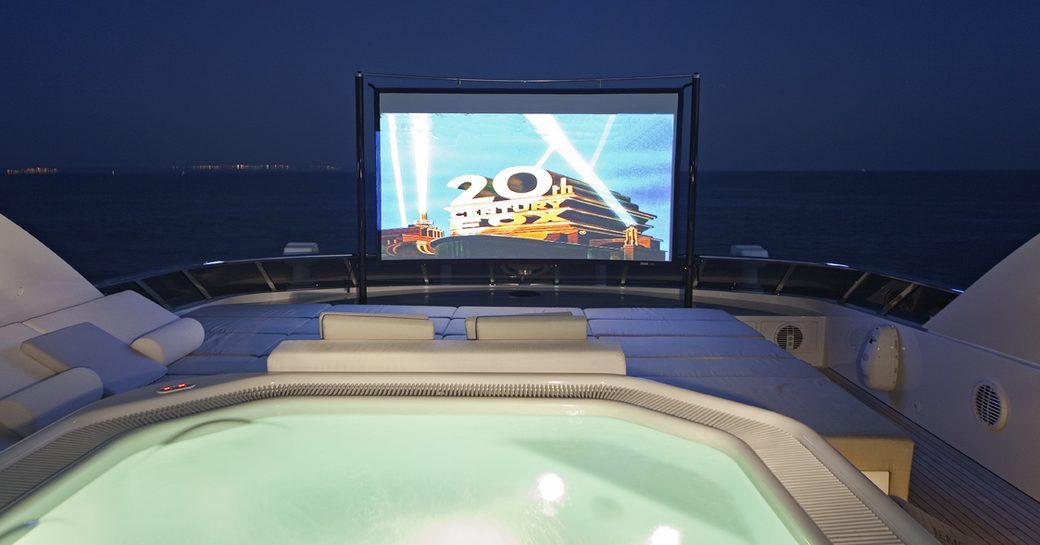 Outdoor cinema onboard MY Jems
