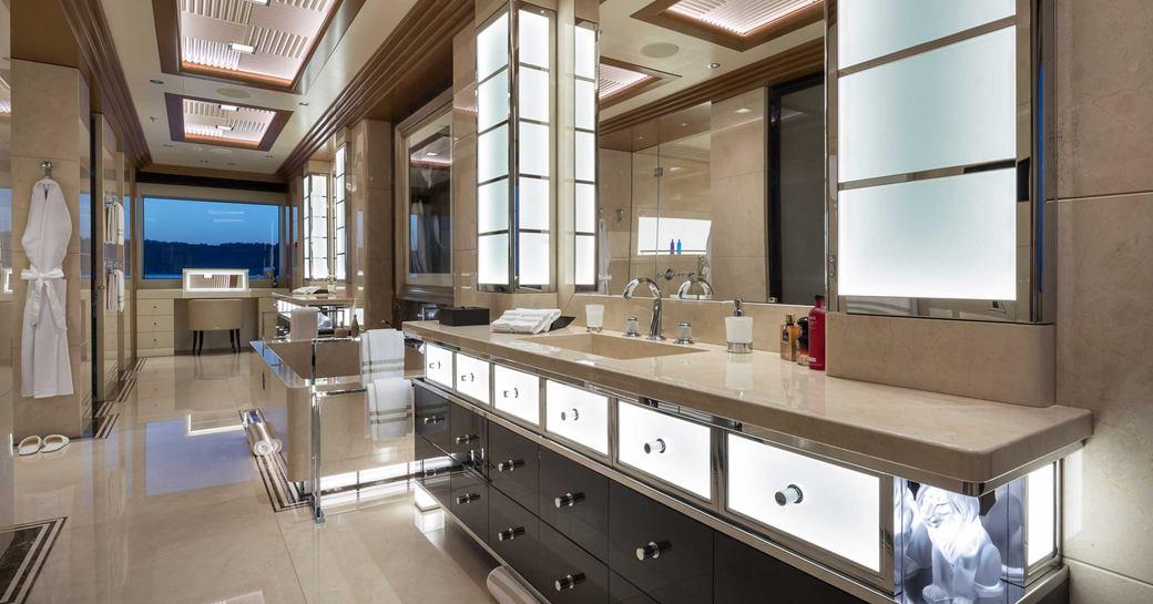 backlit sinks in en suite of luxury superyacht lana