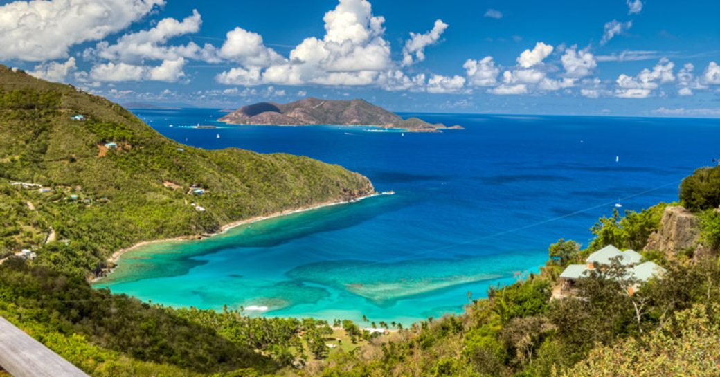 A daytime photograph of the cobalt blue waters lining the British Virgin Islands