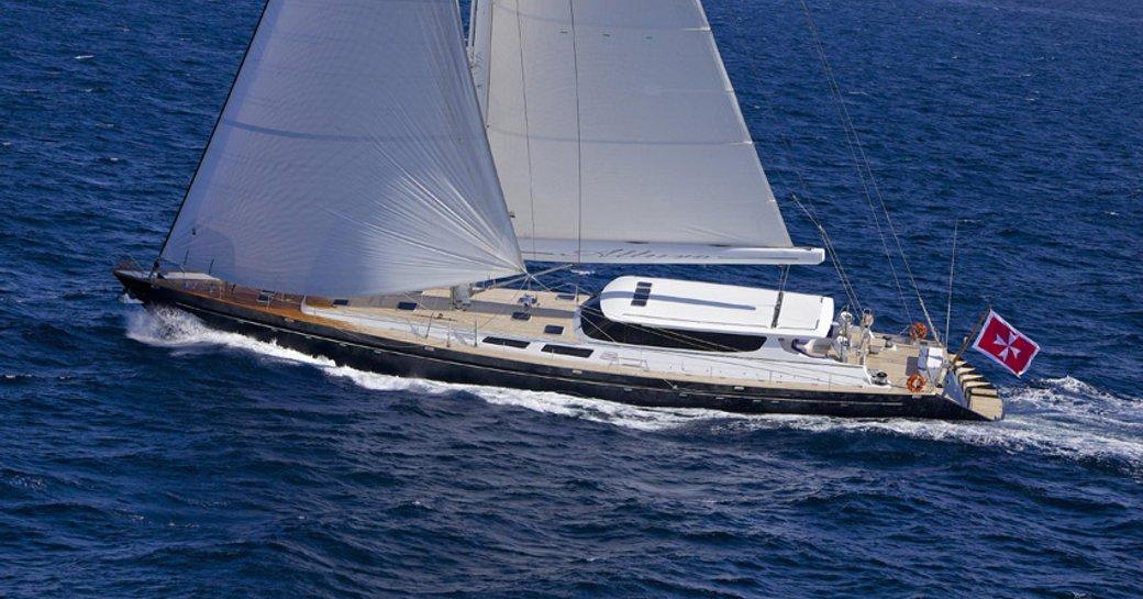 luxury sailing superyacht underway