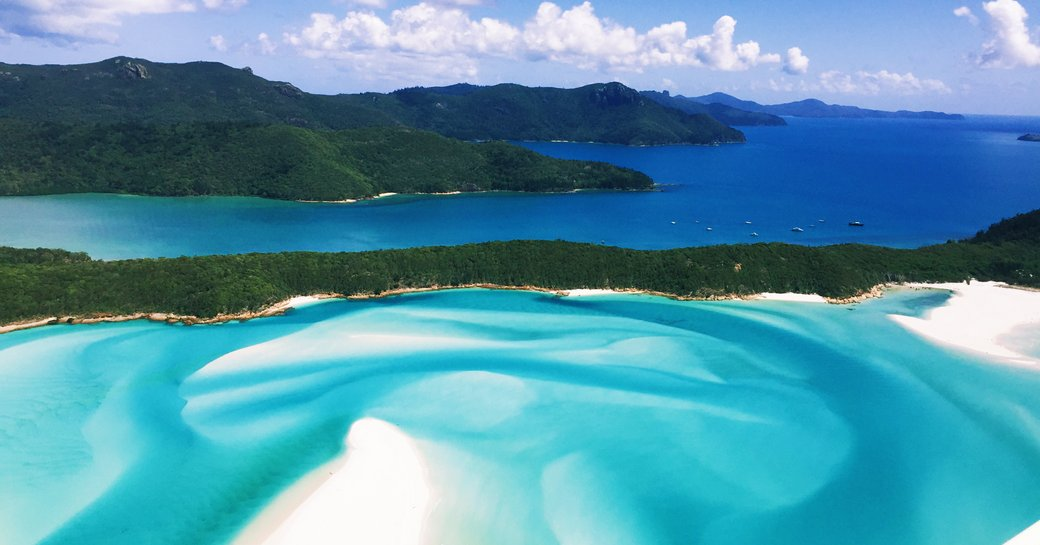 aerial shot of the whitsunday islands