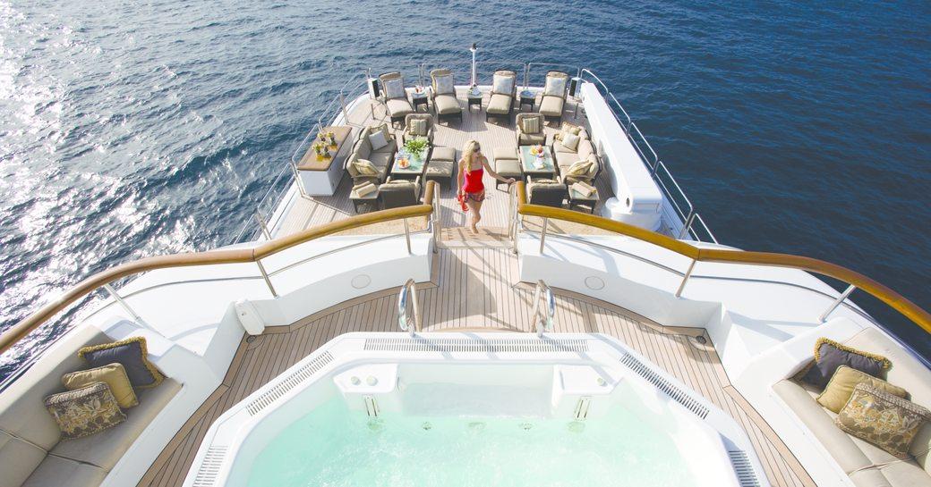 Superyacht UTOPIA's deck Jacuzzi and swimming platform