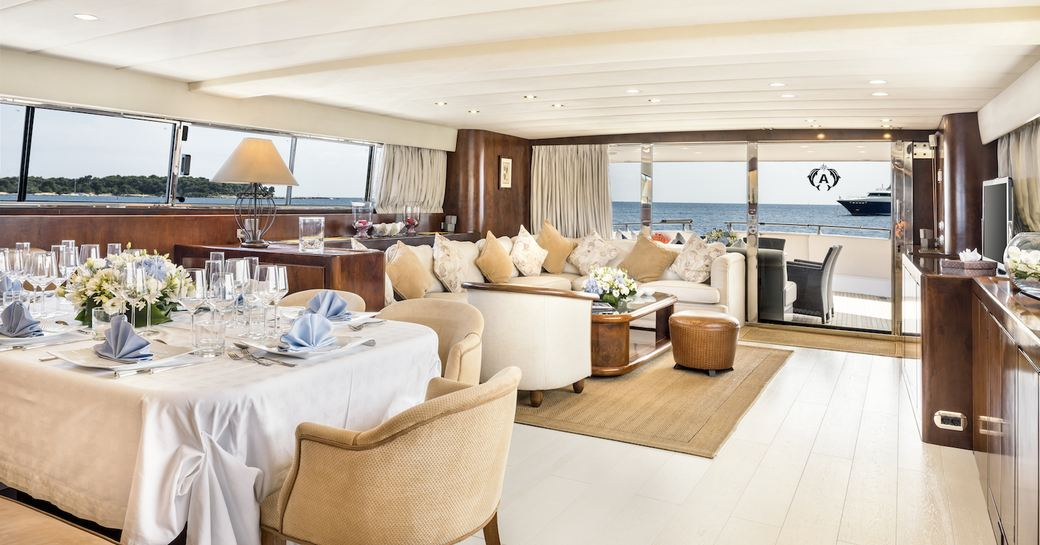 Main and salon and dining table on-board superyacht ANTISAN