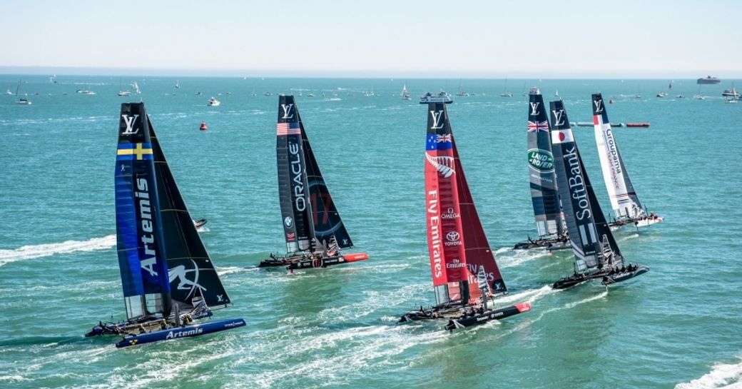 the six competitors of the 35th America's Cup line up in the waters of Bermuda