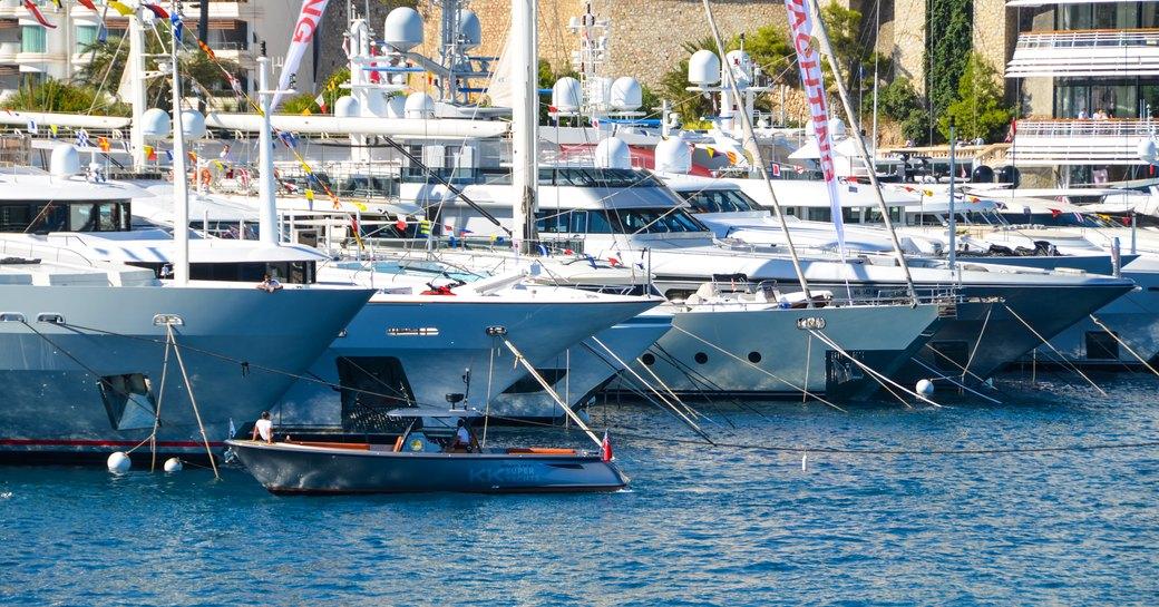 monaco yacht show luxury yachts lined up
