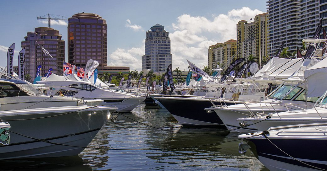 hulls of boats at palm beach boat show