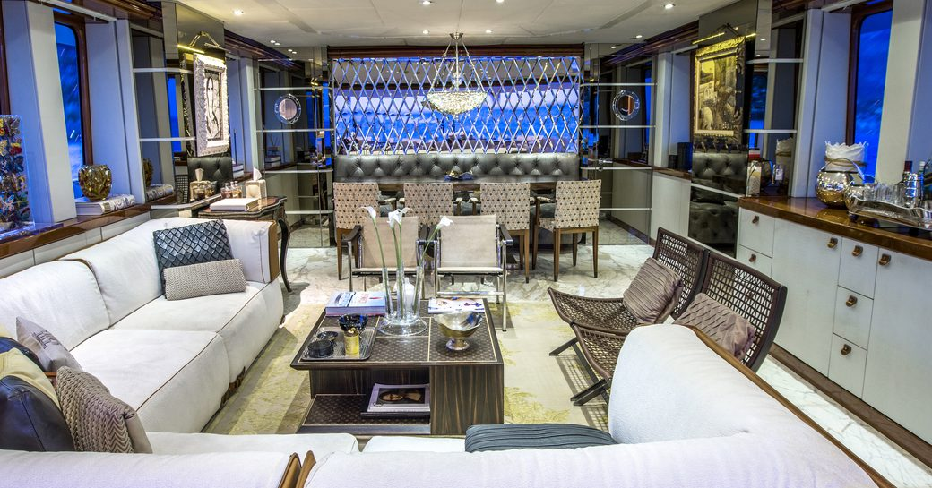 eclectically styled main salon on board expedition yacht ZULU