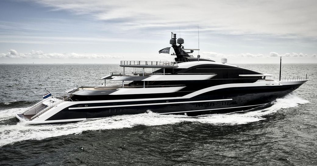 motor yacht DAR cuts through the water while undertaking sea trials