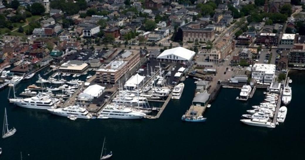 Yachts assembled Newport Shipyard in Rhode Island for the Newport Charter Yacht Show