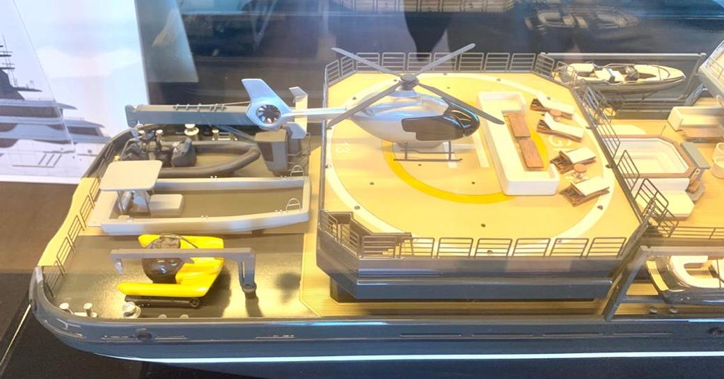 superyacht ragnar model, with helicopter on deck