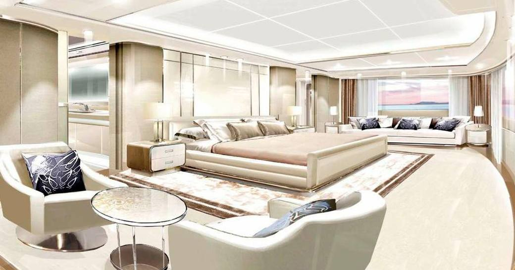opari superyacht owners suite with lounge area