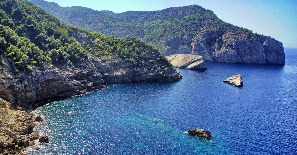 Coast of Ibiza, the sea and the rocks
