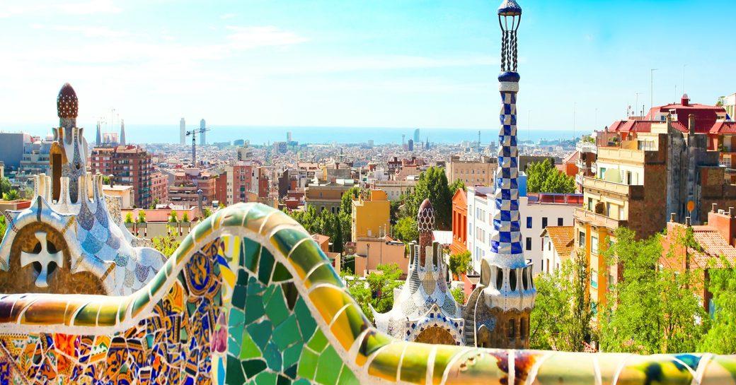 Barcelona colourful skyline