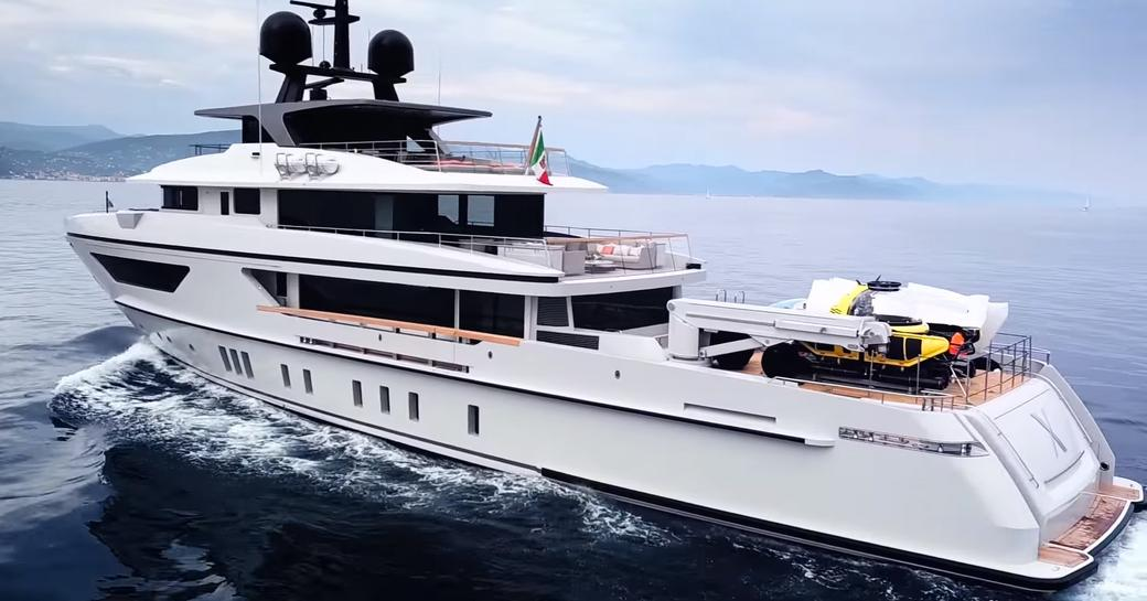 sanlorenzo luxury yacht x with submersibles on deck