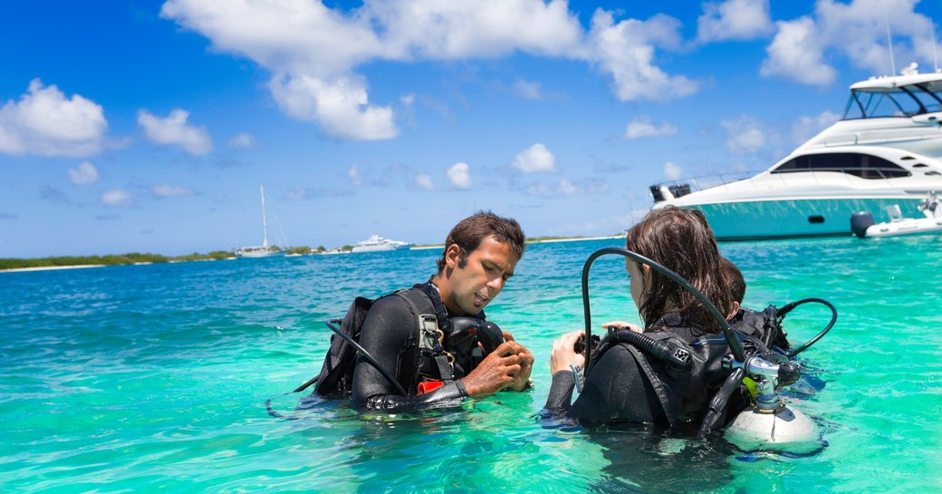 PADI training with instructor on yacht charter