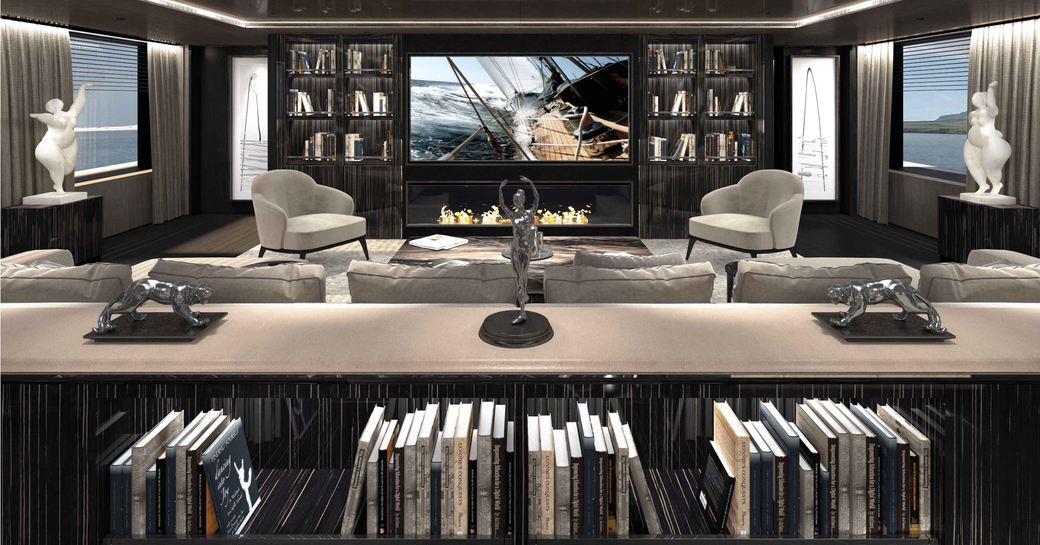 cosy salon with large TV and fireplace on board superyacht Solo