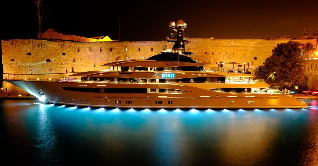 Luxury yacht KISMET in Taranto during filming of Underground Six movie