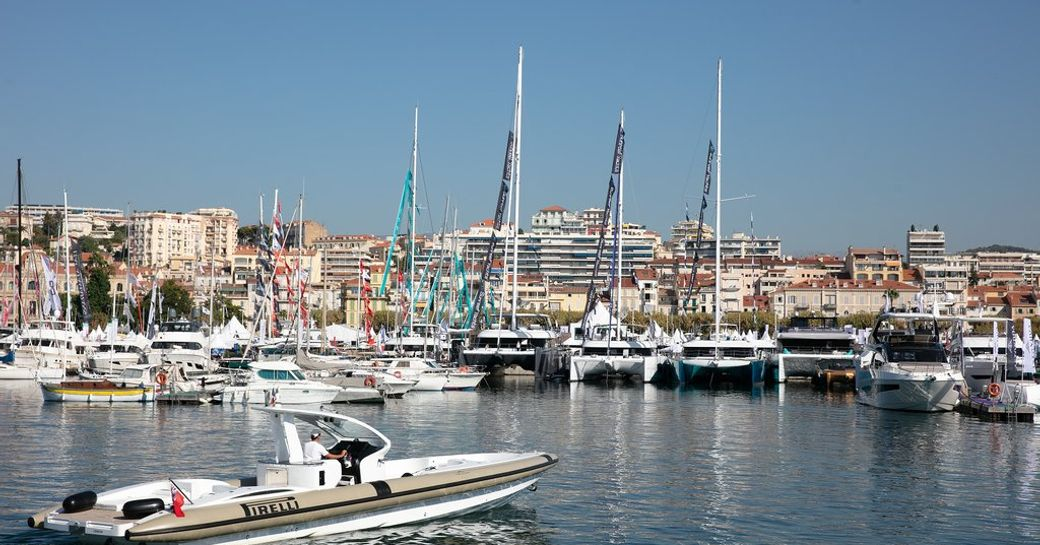 catamarans and trimarans on show in the Vieux Port at the Cannes Yachting Festival 2018