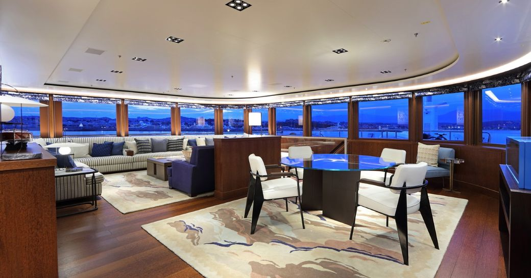 The social space inside superyacht 'Cloud Nine'