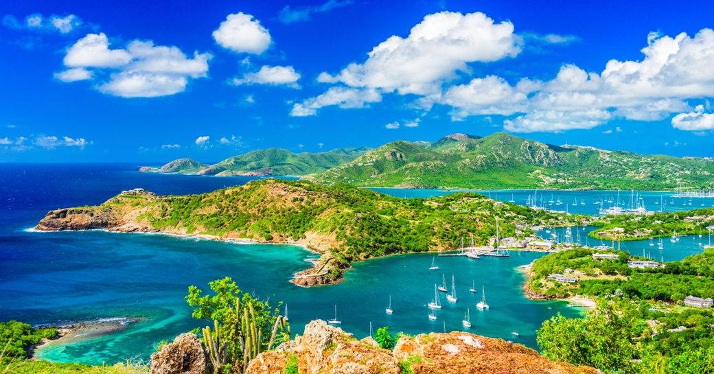 Aerial shot over Antigua islands