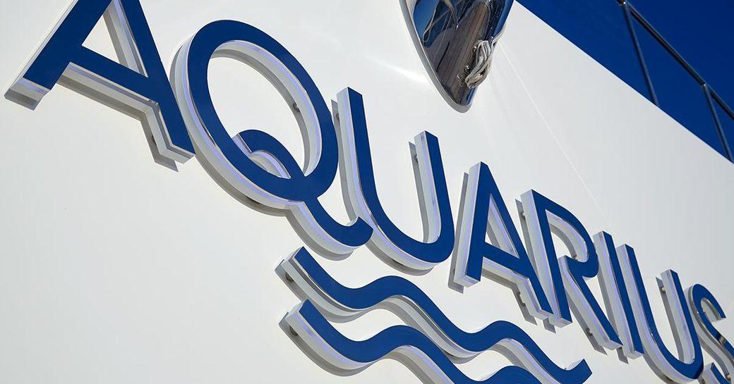 signage on the Feadship motor yacht AQUARIUS