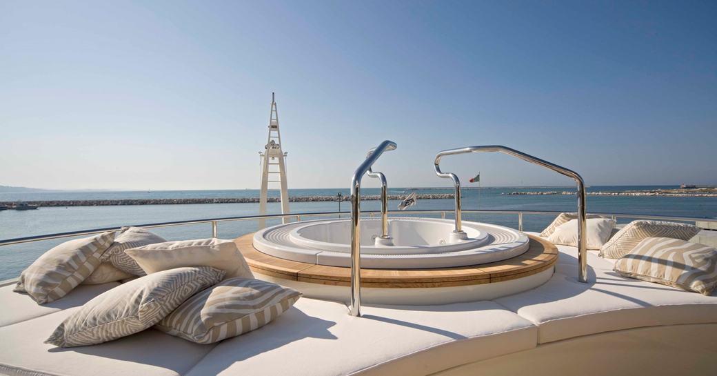 jacuzzi on the sundeck of light holic yacht