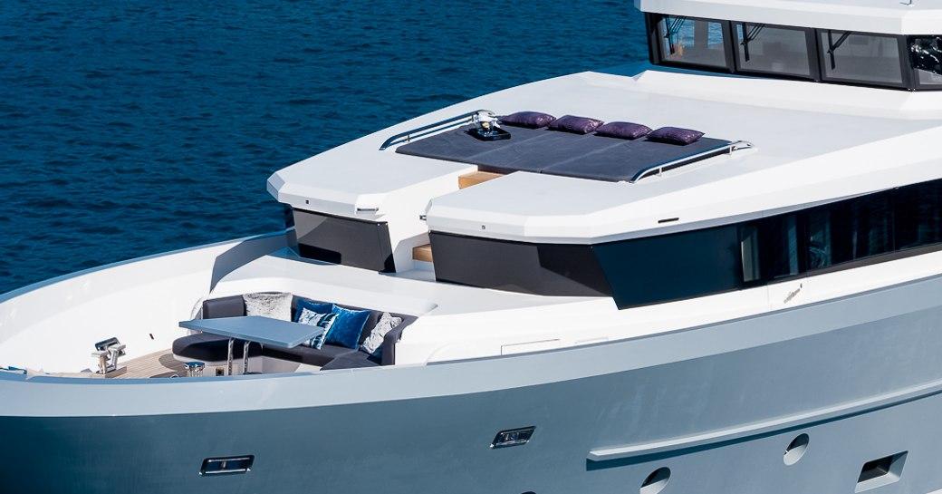 Sundeck on motor yacht Cinquanta 50 with large sunpads