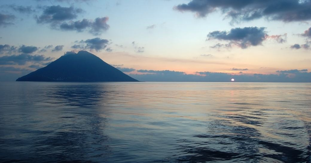 Stromboli at sunset in the Aeolian Islands, Italy