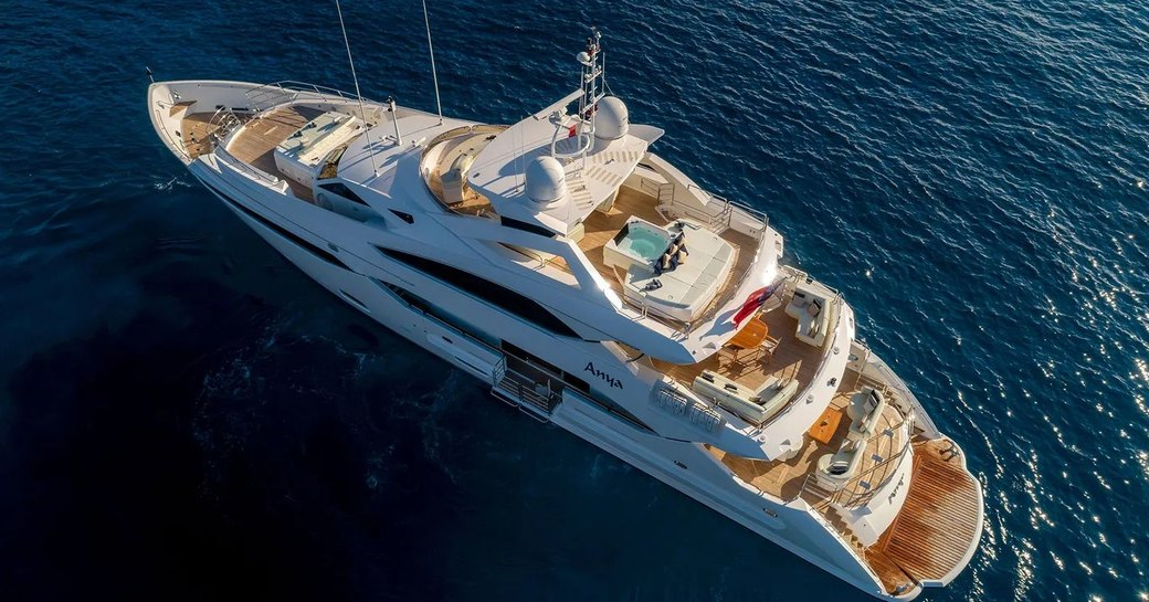 Luxury yacht ANYA aerial image on the water