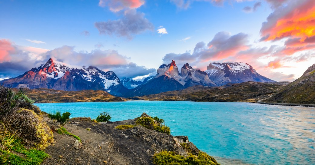 sunsets over mountains in Patagonia in South America
