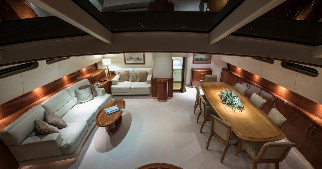 main salon aerial view on board sailing luxury yacht thandeka