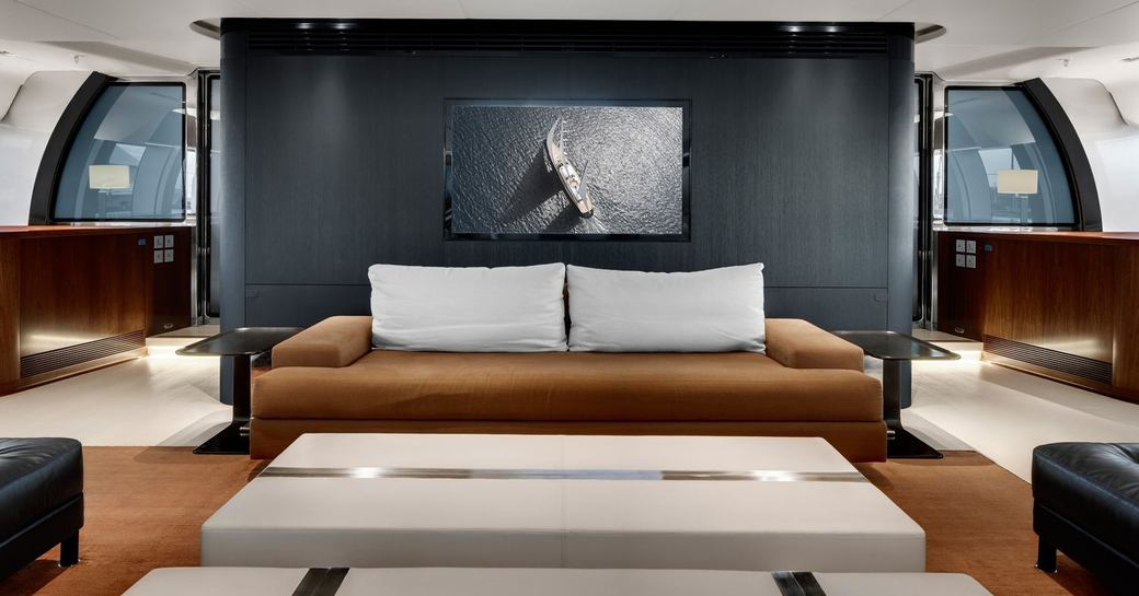 urban loft style main salon aboard luxury yacht VERTIGO