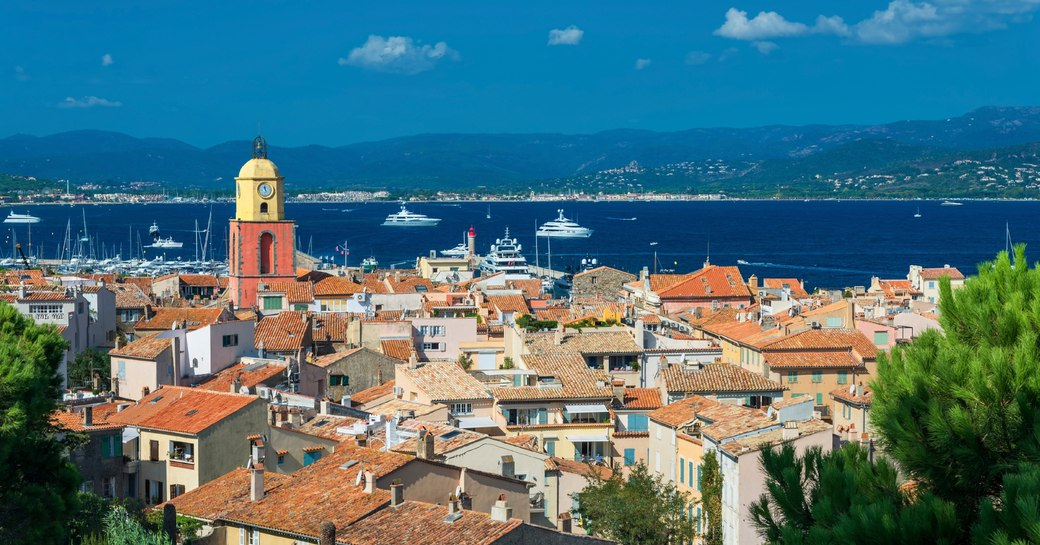 View over the old town of St Tropez and acorss the yacht-filled Mediterranean