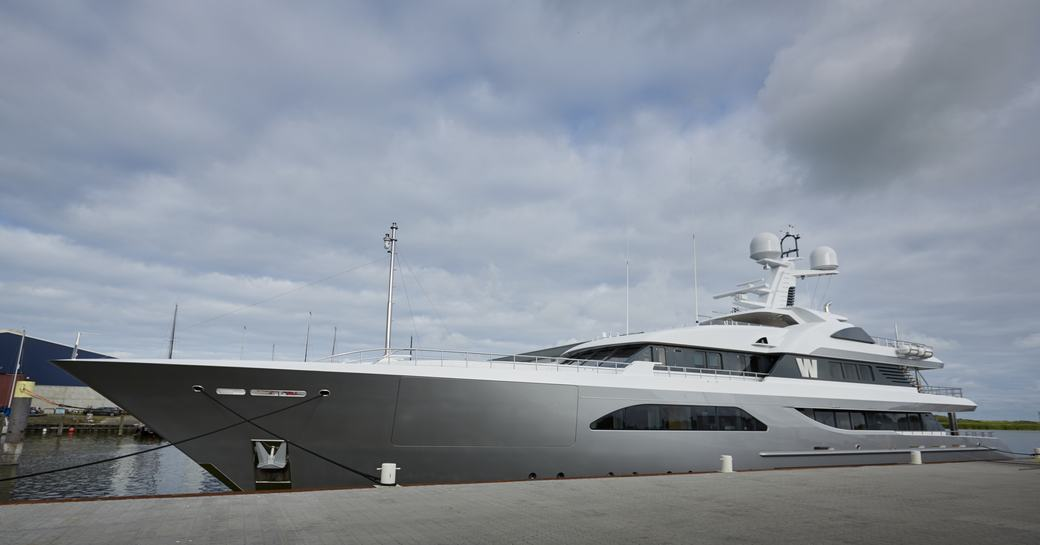 W yacht on the dock post refit