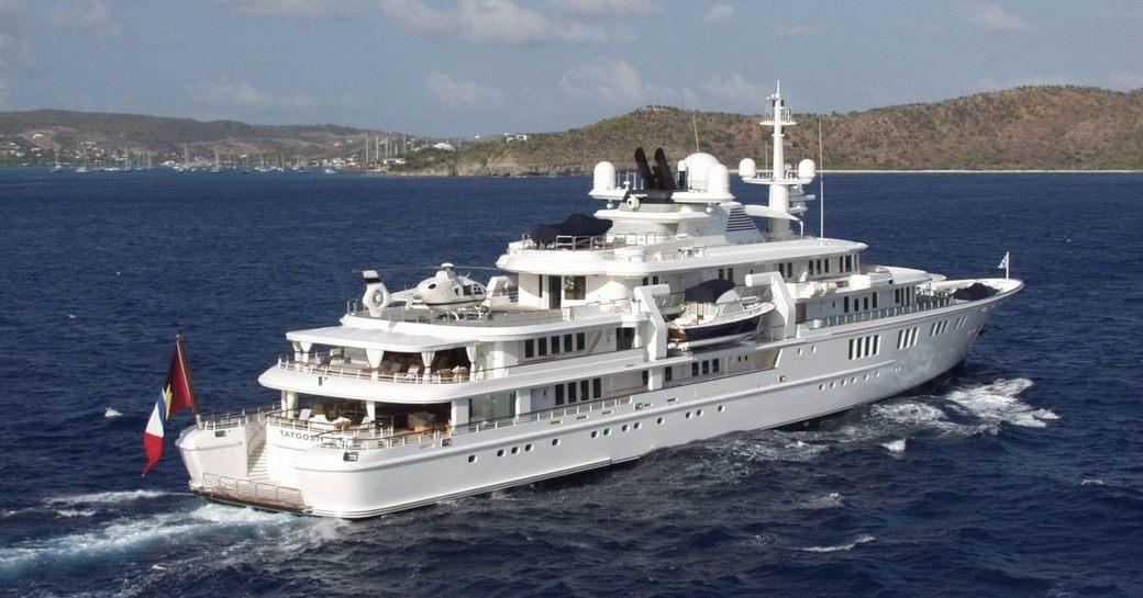 superyacht TATOOSH cruising through the waters on a Caribbean yacht charter