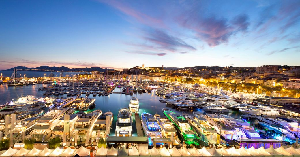 Luxury yachts in the evening at Cannes yachting festival