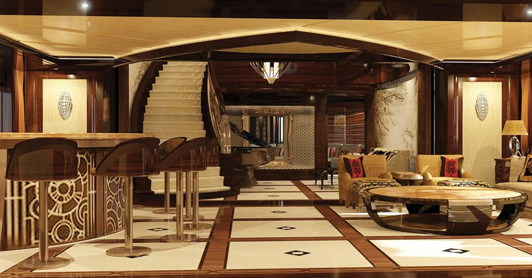 Bar and piano lounge area onboard MY Kismet