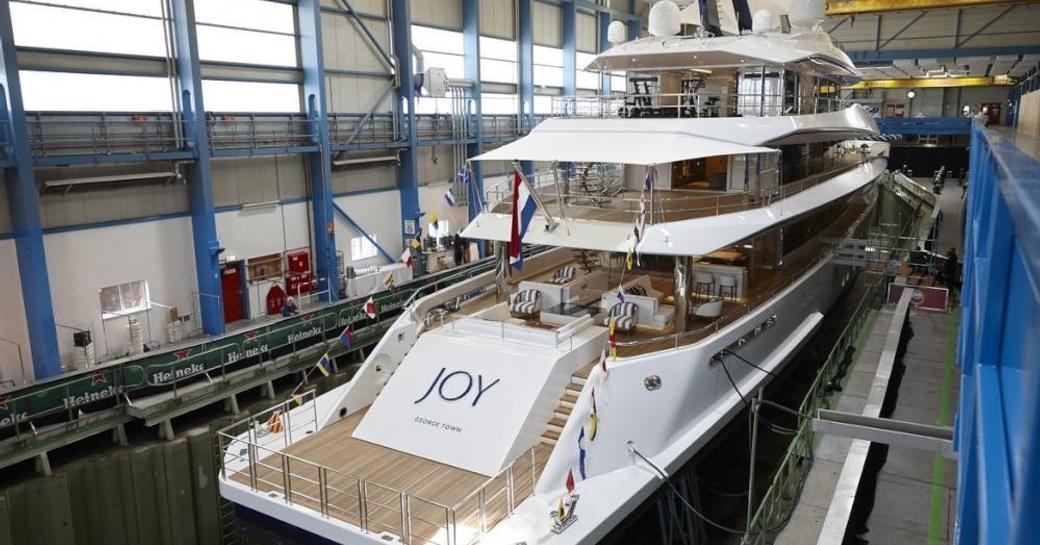 the aft deck and swim platform of motor yacht JOY
