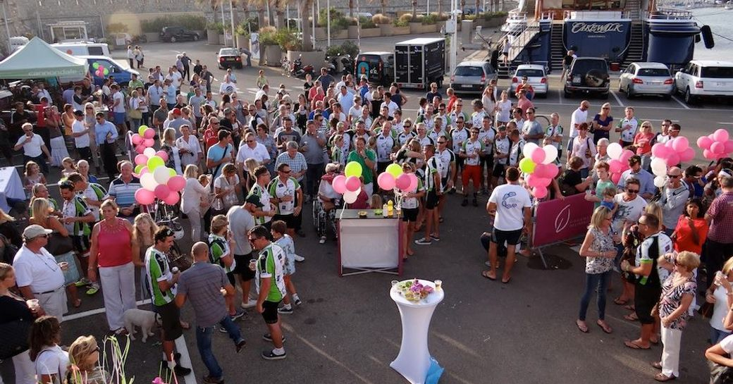 Cakewalk in the port of Antibes at the Cogs4Cancer finish line