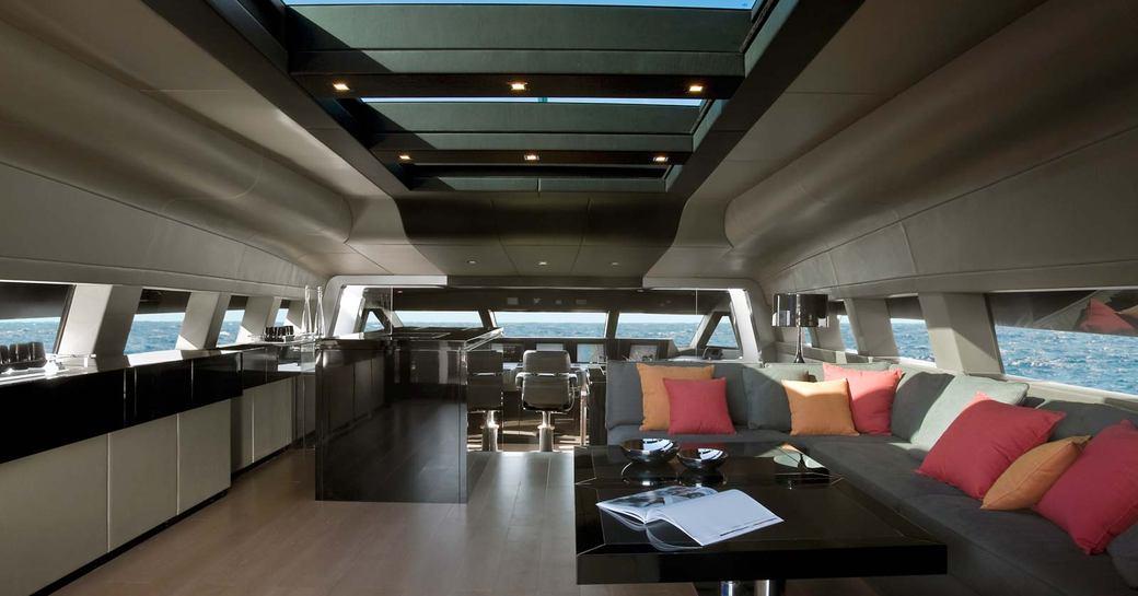 Upper salon of luxury yacht 4A