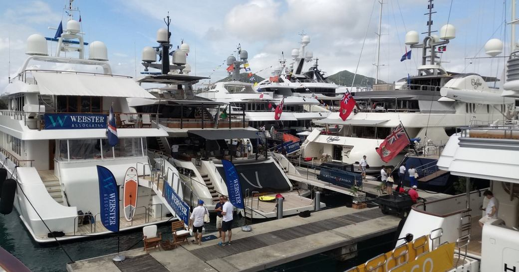 charter yachts lined up in the Antigua Yacht Club Marina for the Antigua Charter Yacht Show 2017