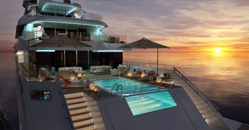 benetti yacht alkhor main deck pool