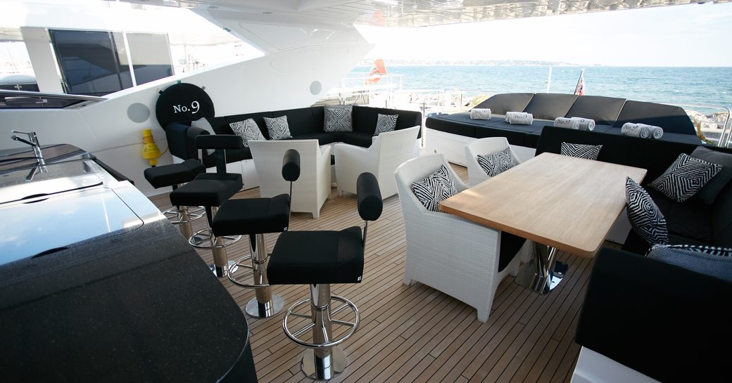 Sundeck seating area on board superyacht No. 9 of London
