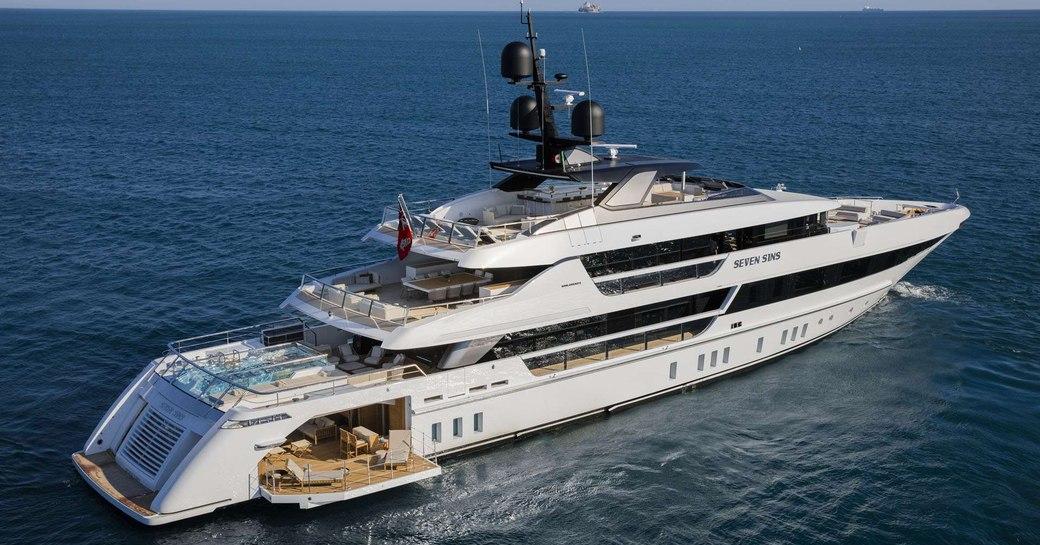 Luxury yacht SEVEN SINS profile shot