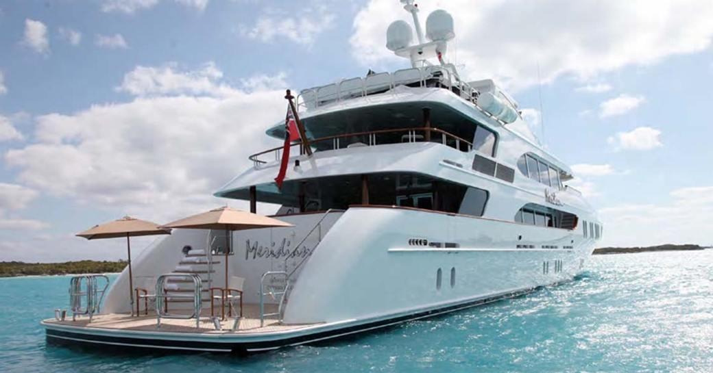 Stern view of charter yacht LA DEA II