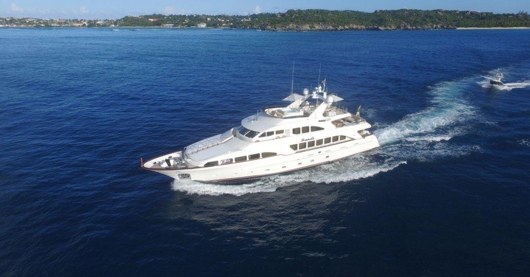 Superyacht BRUNELLO running shot on the water in Caribbean