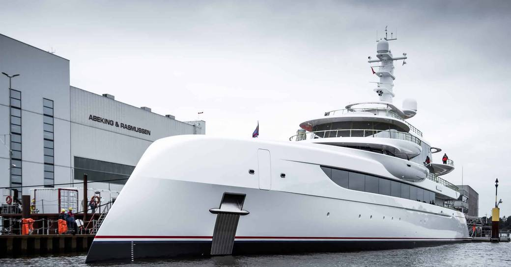 Superyacht EXCELLENCE in front of Abeking and Rasmussen yard