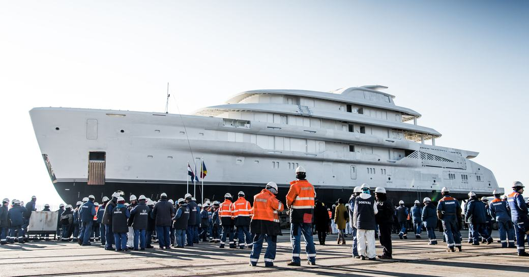Launched: Largest fully-custom Amels  yacht hits the water photo 3